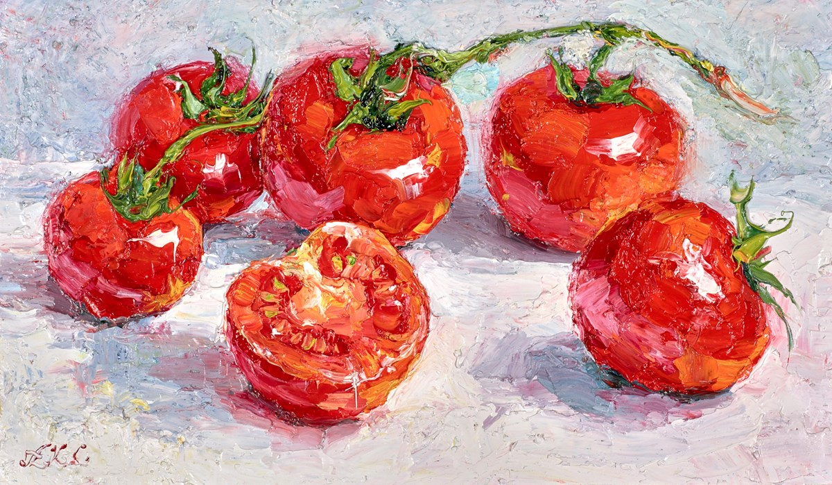 Vine Tomatoes I by lana okiro -  sized 12x7 inches. Available from Whitewall Galleries